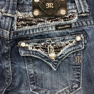 Miss Me Boot Cut Sequin Stretch Jean Size 28 29x31